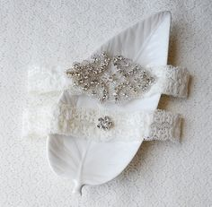 Garter Set Rhinestone Crystal Ribbon Lace Toss by LXdesigns, $30.00