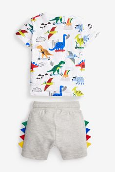 T Shirt And Shorts, Jersey Shorts, Boy Shorts, Toddler Outfits, Kids Outfits, Baby Dino, Kids Patterns, Cute Little Baby, Kids Wear
