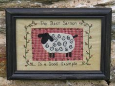 Primitive Country Farmhouse Decor Tea Stained Cross Sheep Stitch Wooden Frame