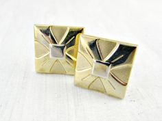 Vintage Cuff-Links & Tie Tack Pin Set Gold by RedGarnetVintage