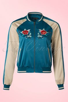 King Louie - 50s Kings Garden Baseball Jacket in Waterfall Blue