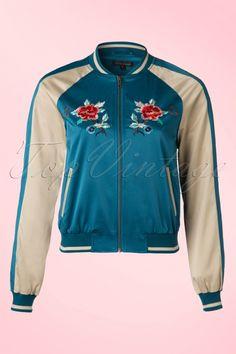 King Louie - 50s Kings Garden Baseball Jacket in Waterfall Blue
