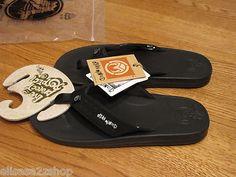 Men's Ocean Minded flip flops thongs sandals 9 41.5 EUR durbo black cushion NEW