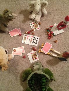 Easy to DIY - use the reindeer, a few stuffed animals, playing cards, and misc little toys/treats