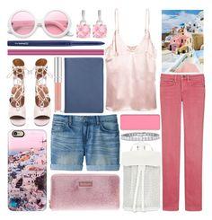 """pink sunset"" by foundlostme ❤ liked on Polyvore featuring Casetify, Uniqlo, Chloé, DESA 1972, ZeroUV, MAC Cosmetics, StyleRocks, shu uemura, denim and Santorini"