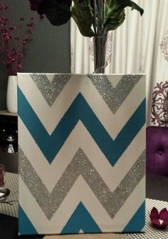DIY Cheveron Canvas Art the next one I do will have to have sparkle! @Maddie Woodham