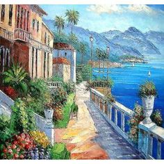 Hand made oil painting on canvas - Seaside Walk