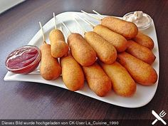Corn Dogs - My list of simple and healthy recipes Corn Dogs, Food C, Love Food, Quick Appetizers, Appetizer Recipes, Corndog Recipe, Halloween Finger Foods, C'est Bon, Pampered Chef