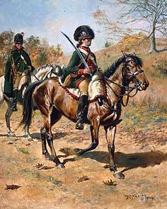4th Continental Light Dragoons, by Don Troiani. American dragoons were dressed nearly identically to their British counterparts. Green was the common dragoon color.(www.dontroiani.com)