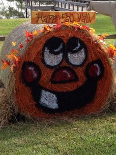 Painted pumpkin hay bale. Happy fall y'all.: Hay Bale Decorations, Fall Festival Decorations, Fall Yard Decor, Hay Bales, Happy Fall Y'all, Painted Pumpkins, Fall Halloween, Thanksgiving, Decorating Ideas