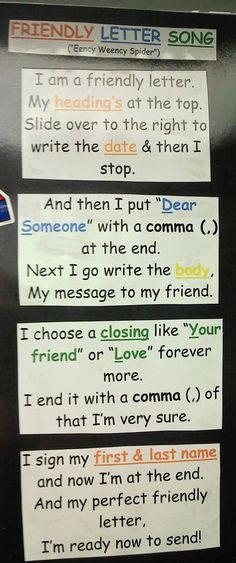 Friendly letter song-great for remembering parts of a letter (picture only)