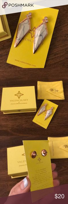 Valencia Key Earrings White Marble Rose Gold These are gorg earring, never worn or even removed from packaging. Costume (not real gold). No clue what these retail for - I can't find them online. They were a gift. Thanks! xo valencia key Jewelry Earrings