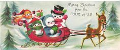 Vintage Christmas Card Snowman Family in Sleigh eBay