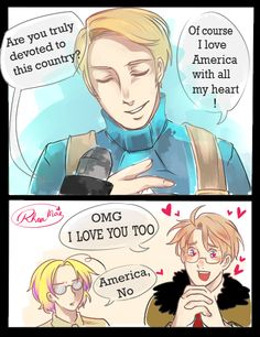 It's 'True Love' ♥ I'm shipping this crack pairing guys. APH America x Capt. America / Steve Rogers FTW! //slapped.
