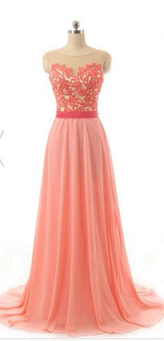 #coral  #chiffon #prom #party #evening #dress #dresses #gowns #cocktaildress…