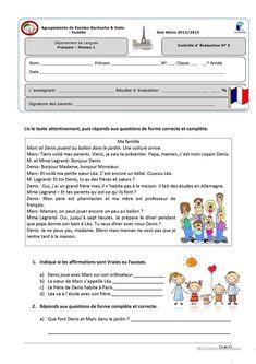 contrôle niveau 1 « La famille et la maison» fiche d'exercices - Fiches pédagogiques gratuites FLE