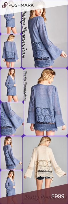 Periwinkle Crochet Lace Bell Sleeve Open Cardigan DESCRIPTION COMING SOON  NOW AVAILABLE  TRUE TO SIZE Pretty Persuasions Sweaters Cardigans