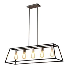 OVE Decors Agnes 38.0-in Black Linear Rectangle LED Pendant