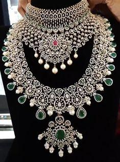 Bead Jewellery, Bridal Jewellery, Diamond Jewellery, Gold Jewelry, Jewelry Necklaces, Indian Wedding Jewelry, Indian Jewelry, Emerald Necklace, Neck Piece