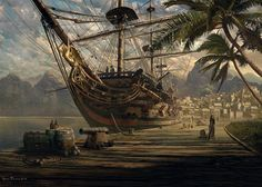 ship-at-anchor-puzzle Pirate Art, Pirate Life, Pirate Ships, Old Sailing Ships, Sailing Boat, Ship Of The Line, Royal Art, Port Royal, Ship Paintings