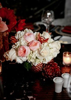 White & pink centerpiece // Chellise Michael Photography for Elan Artists // from: Steal-worthy wedding ideas from #Engage13