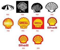 The Shell gas station brand logo started out in 1900 as a literal inked clamshell drawing but has gradually become a smooth red and yellow stylized shell. The colors and shape are so distinct, Shell doesn't even write its name on the logo anymore.