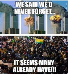 Makes me mad. I keep asking, how did we go from 9/11 to now afraid to offend Muslims. Hmmmm (I will NEVER forget) r.i.p to all the innocent souls on this day.