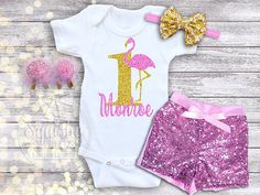 Flamingo Birthday Outfit, Personalized Birthday Outfit, Flamingo 1st Birthday…