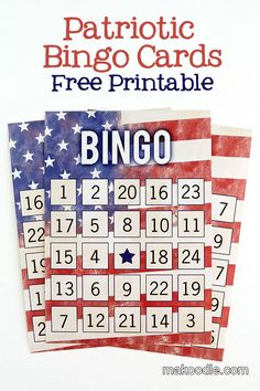 Patriotic Bingo Cards - Free Fourth of July Printable Activity;