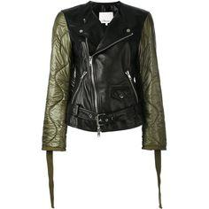 3.1 Phillip Lim contrast sleeve biker jacket ($1,572) ❤ liked on Polyvore featuring outerwear, jackets, black, motorcycle jacket, zip front jacket, kimono jackets, biker jacket and moto jackets
