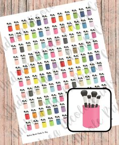 DIY Print & Cut Makeup Brushes Planner Stickers for Erin Condren, MAMBI Planner, Filofax by AndreaNicolePrintsCo on Etsy