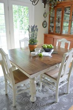 chalk paint grandma s antique dining table and chairs, chalk paint, painted furniture, repurposing upcycling Painted Dining Room Table, Kitchen Table Redo, Antique Dining Tables, Dining Table Chairs, Dining Room Furniture, Antique Chairs, Kitchen Dining, Shabby Chic Table And Chairs, Bistro Chairs