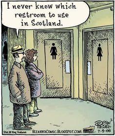 Scottish Restrooms – a little kilt humor Funny Cartoons, Funny Jokes, Hilarious, Cartoon Humor, Memes Humor, Funny Images, Funny Pictures, Bing Images, Bizarro Comic