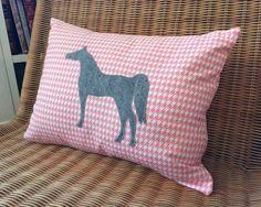 Appliquéd Horse Pillow, Heather Gray Wool Felt Arabian Horse with Pink & White Houndstooth Print, 12 x 16 www.TheThimbleAndHound.com