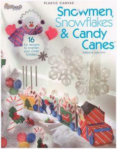 Snowmen Snowflakes & Candy Canes Plastic Canvas Pattern 16 Designs…