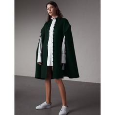 Burberry Domed Button Camel Hair Wool Cape, Blue