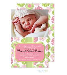 Rosanne Beck Retro Flowers - Pink Girl Photo Birth Announcement