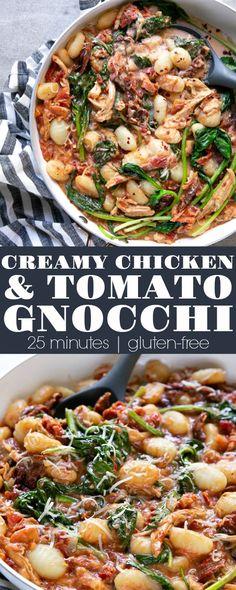 Creamy Chicken and Tomato Potato Gnocchi Recipe - The Forked Spoon