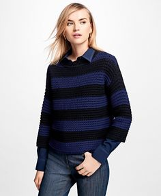 Merino Wool Cropped Rugby Sweater - Brooks Brothers e23c97b0d
