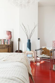 A Dutch guest house with red floors and vintage touches Red