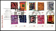 Scott Catalog # :4098a / Fleetwood First Day Cover. Booklet  Pane includes: 4089 Housetop Variation, by Mary Lee Bendolph / 4090 Pig in a Pen Medallion, by Minnie Sue Coleman / 4091 Nine Patch, by Ruth P. Moseley / 4092 Half Log Cabin Variation, by Lottie Mooney / 4093 Roman Stripes Variation, by Loretta Pettway / 4094 Chinese Coins Variation, by Arlonzia Pettway / 4095 Blocks and Strips, by Annie Mae Young / 4096 Medallion, by Loretta Pettway / 4097 Bars and String-Pieced Columns, by Jessie…
