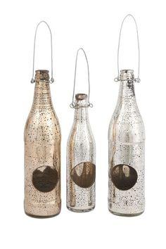 Mercury Glass Candleholder Bottles-Set of 3 on HauteLook