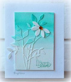 By Birgit Edblom (Biggan at Splitcoaststampers). Used Memory Box Fresh Flowers die and a daisy die.