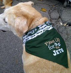 """NY Jets Dog Bandana,  Reversible, """"Paws Up for the Jets"""" via Etsy."""