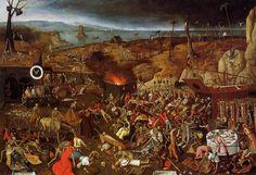 死の勝利, パネルに油絵 バイ Pieter Bruegel The Younger (1564-1636, Belgium)