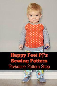 Happy Feet Pajamas PDF Sewing Pattern | Peek-a-Boo Pattern Shop