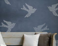 Large Wall Motif Bird Stencil, Fly Away With Me, by Bonnie Christine for Royal Design Studio Stencil Wall Art, Bird Stencil, Stencils, Damask Stencil, Stencil Patterns, Stencil Designs, Small Scale Furniture, My Furniture, Modern Furniture