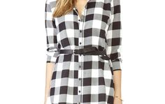 Plaid Print Pleated Shirtdress As Casual And Formal Dress , Black And White