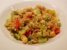 Bulgur Salad with Garbanzo Beans, Feta, and Plum Tomatoes Recipe Harira Soup, Delicious Vegan Recipes, Healthy Recipes, Bulgur Salad, Plum Tomatoes, Fried Rice, Salad Recipes, Chicken Recipes, Food And Drink