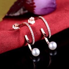 925 #Sterling #Silver Natural #Pearl #Stud #Earring with #CZ.